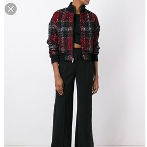 DKNY Rose Plaid Bomber Jacket NERO/ROSSO